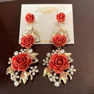 NWT Amrita Singh Orange Red Rose statement earring